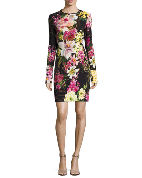 Naeem Khan Long-Sleeve Floral-Print Dress