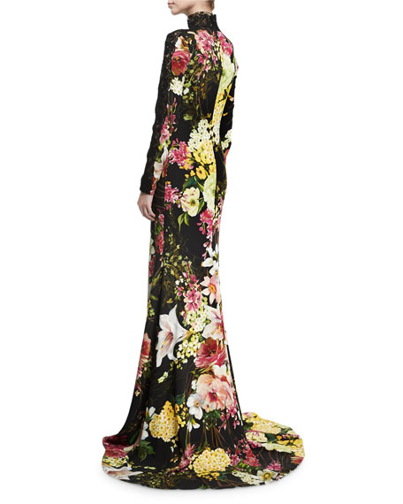 Floral-Print Long-Sleeve High-Neck Gown, Black