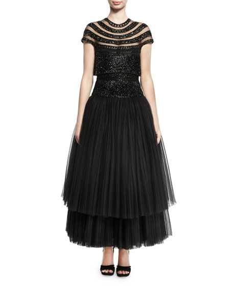 Naeem Khan Beaded Fringe Cap-Sleeve Tulle Tea-Length Gown,