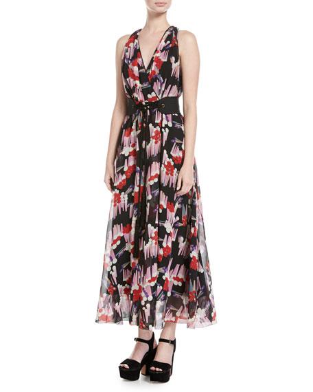 Marc Jacobs Geo-Spot Silk Georgette Midi Dress, Black