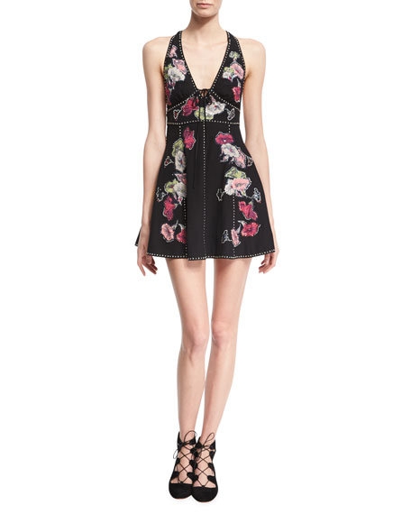 Marc Jacobs Floral-Embroidered Sleeveless Fit & Flare Minidress,