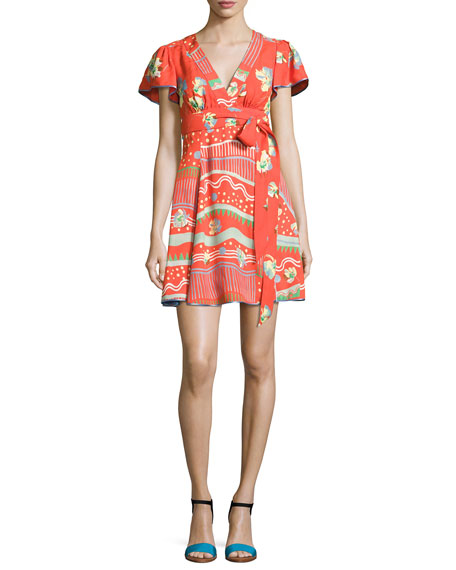 Marc Jacobs Floral-Print Flutter-Sleeve Wrap Dress, Red