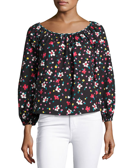Marc Jacobs Floral-Print Long-Sleeve Peasant Blouse, Blue