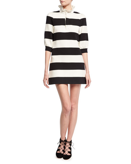 Marc Jacobs Rugby Stripe Frill-Collar Minidress, Black/White