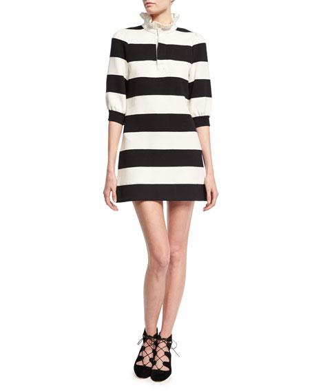 Rugby Stripe Frill-Collar Minidress, Black/White