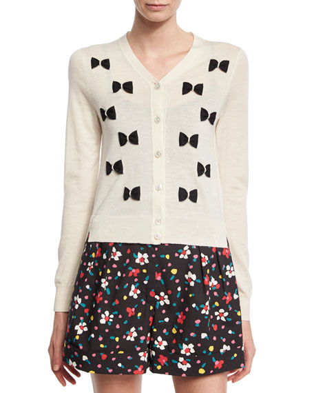 Marc Jacobs Merino Wool Bow Cardigan, White