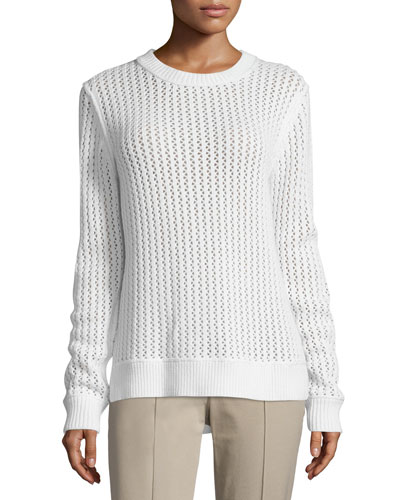 Long-Sleeve Zigzag-Ribbed Sweater, White