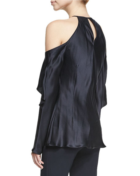 Florence Silk Charmeuse Cold-Shoulder Top