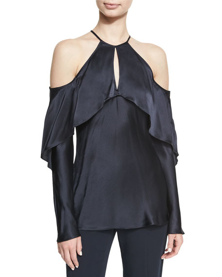 Cushnie Et Ochs Florence Silk Charmeuse Cold-Shoulder Top