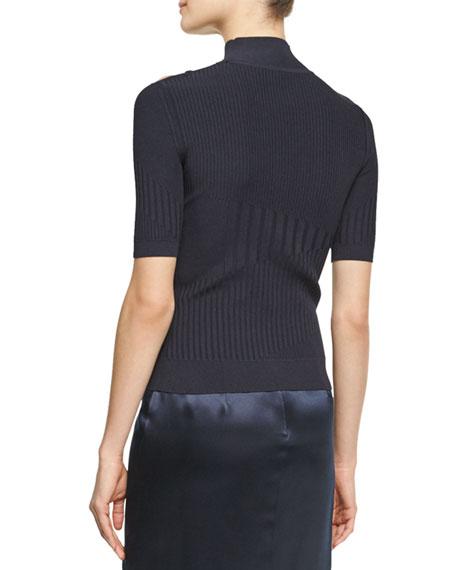 Natalia Mixed-Rib Sweater with Lacing