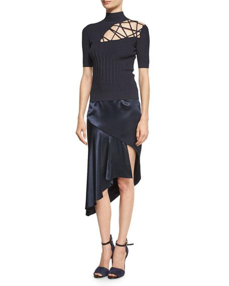Cara Silk Charmeuse Midi Skirt