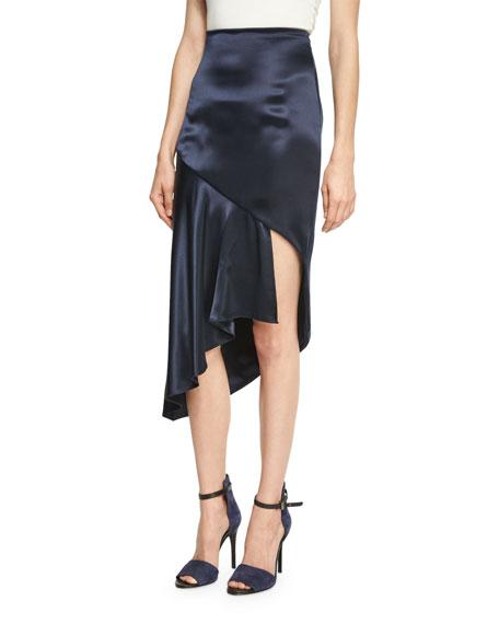 Cushnie Et Ochs Cara Silk Charmeuse Midi Skirt