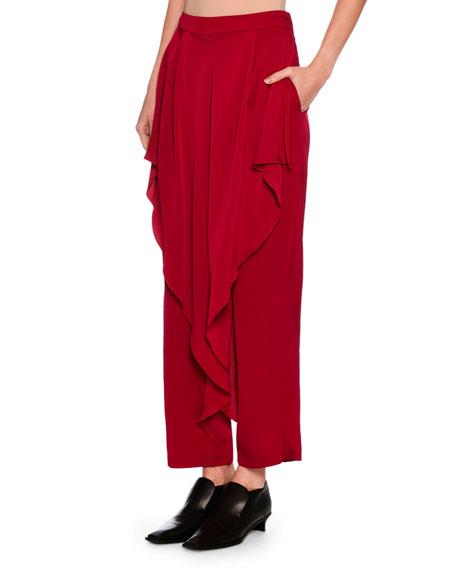 Gabbi Ruffle-Front Harem Pants, Bright Pink