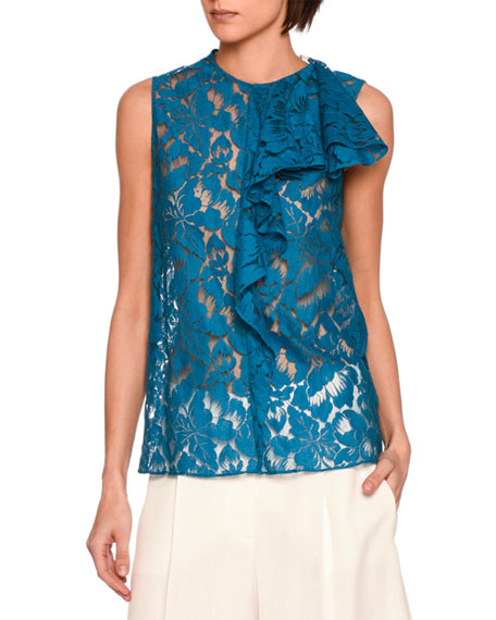 Rochelle Sleeveless Lace Ruffle-Trim Top, Blue