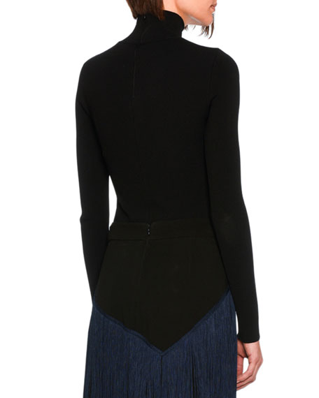 Turtleneck Sweater Top with Ring, Black