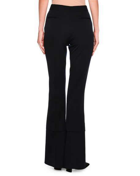 Sally Flare-Leg Double-Hem Trousers, Dark Blue