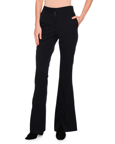 Stella McCartney Sally Flare-Leg Double-Hem Trousers, Dark Blue