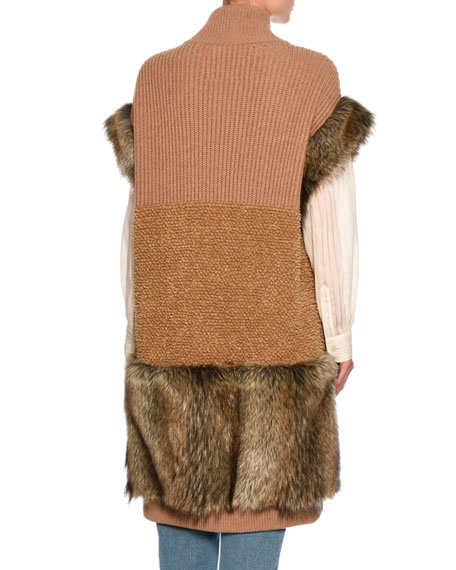 Virgin Wool & Faux-Fur Vest, Brown