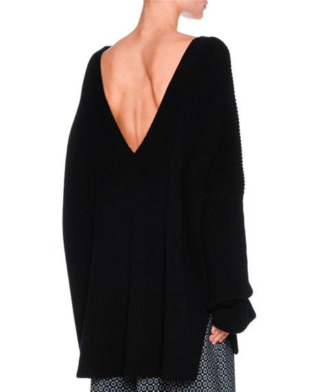 Ribbed Virgin Wool Oversized V-Neck Sweater, Dark Blue