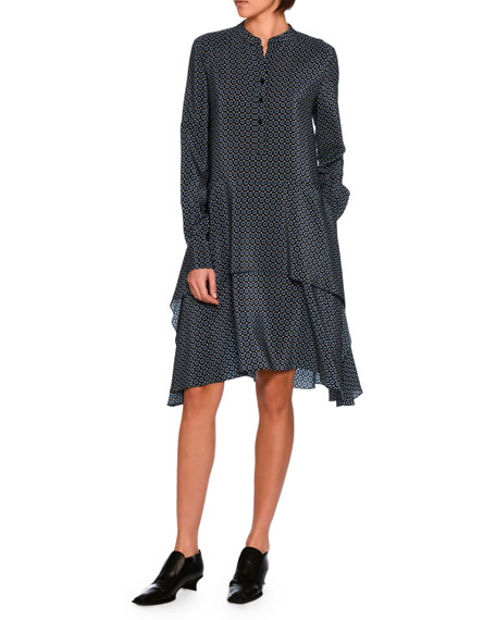 Dakota Foulard Silk Long-Sleeve Dress, Black