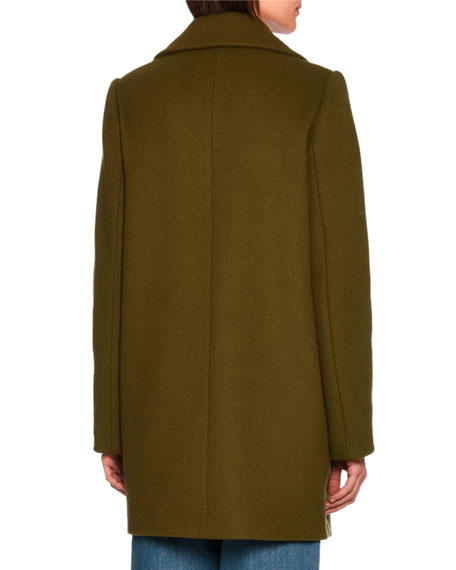 Edith Double-Breasted Car Coat, Dark Green