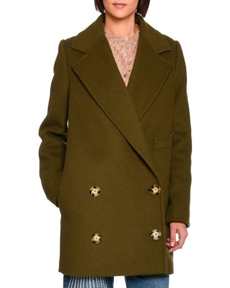 Stella McCartney Edith Double-Breasted Car Coat, Dark Green