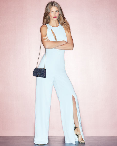 Valerie Sleeveless Wide-Leg Jumpsuit with Cutout Neckline, Ice