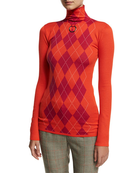 Stella McCartney Argyle Wool Turtleneck Sweater