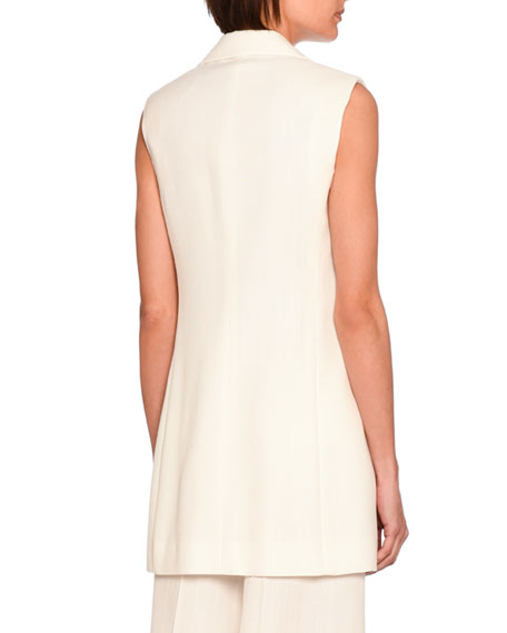 Becka Single-Breasted Jacket Vest, Off White