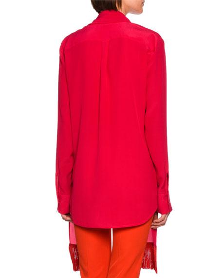 Wilma Fringe-Scarf Silk Blouse, Bright Pink