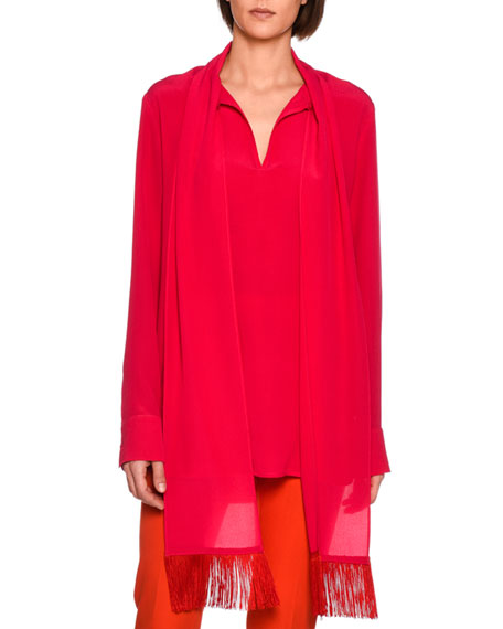Stella McCartney Wilma Fringe-Scarf Silk Blouse, Bright Pink