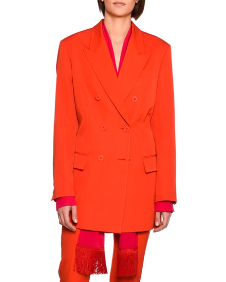 Stella McCartney Nicola Double-Breasted Wool Blazer Jacket,