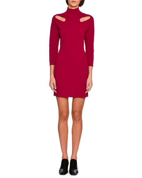 Cutout-Shoulder Knit Mock-Neck Minidress, Bright Pink