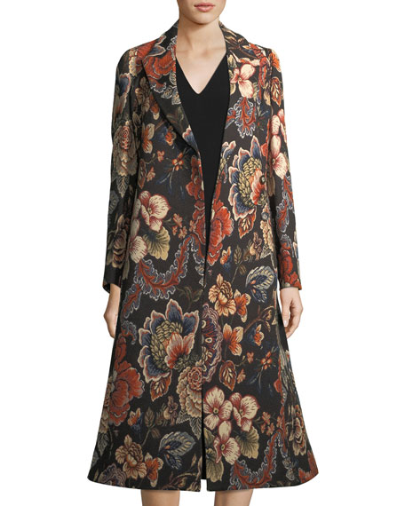 Image 3 of 3: Vivienne Floral Brocade Dress Coat