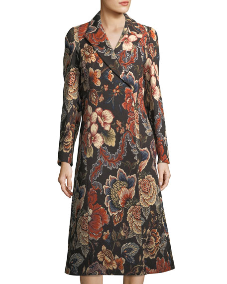 Image 1 of 3: Vivienne Floral Brocade Dress Coat