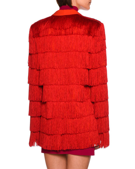 Tia Tiered Fringe Men's Blazer, Bright Red
