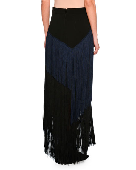 Veronica Tiered Fringe Maxi Skirt, Black/Navy