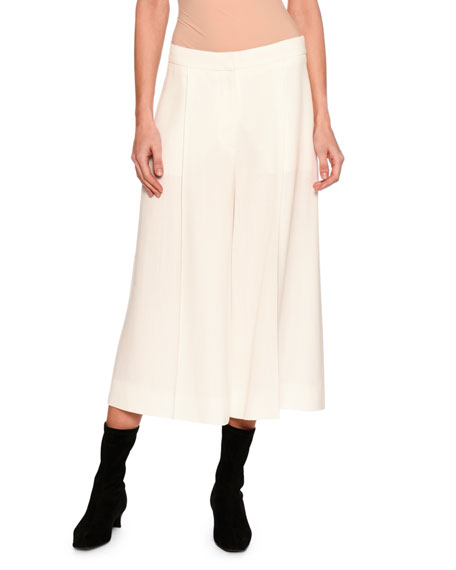 Stella McCartney Oliver Pleated Wide-Leg Cropped Trousers, Off