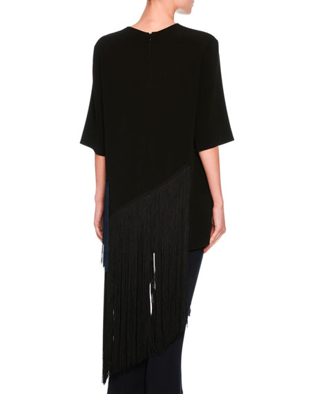Edith Two-Tone Fringed Top, Black