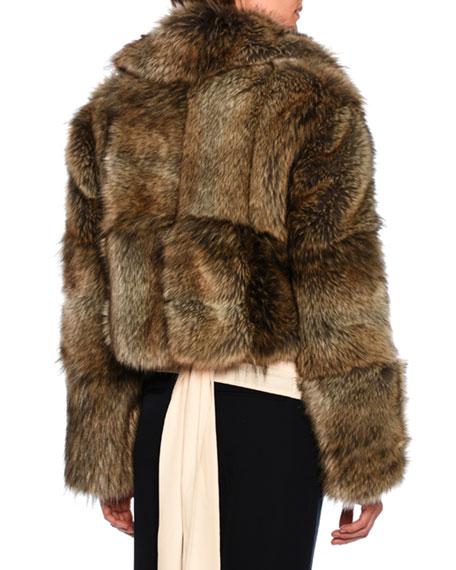 Masha Faux-Fur Chubby Cropped Coat, Gray Fox