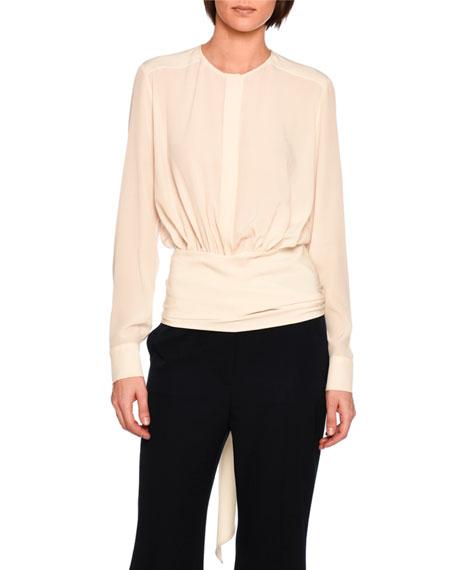 Freya Kimono-Wrap Blouson Top, Ivory