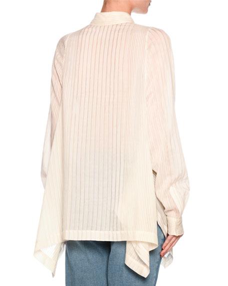 Kirsten Pinstripe Shirt Blouse, White
