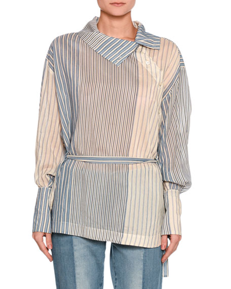 Stella McCartney Caterina Striped Asymmetric-Button Blouse,