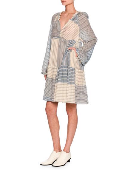 Erika Striped Long-Sleeve Easy Dress, White/Blue