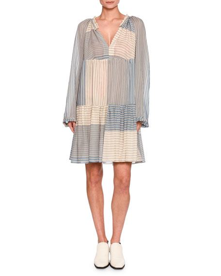 Stella McCartney Erika Striped Long-Sleeve Easy Dress, White/Blue