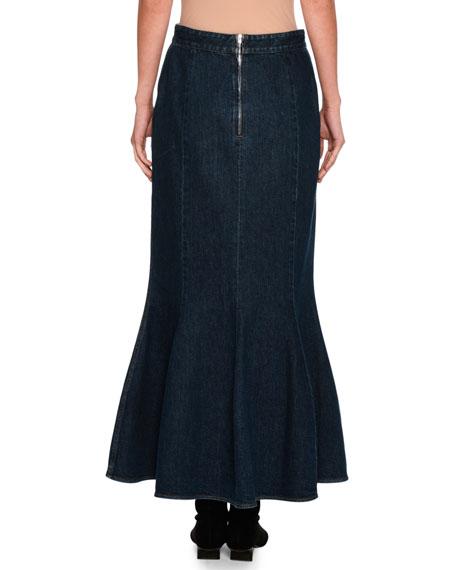 Ivy Fluted Slit-Front Denim Maxi Skirt, Dark Blue