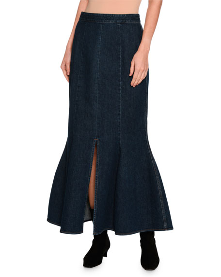 Stella McCartney Ivy Fluted Slit-Front Denim Maxi Skirt,