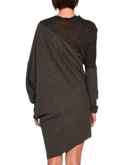 Asymmetric Virgin Wool Sweater Dress, Charcoal