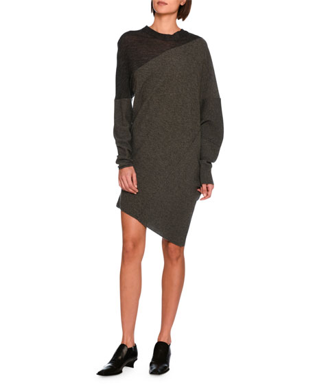 Asymmetric Virgin Wool Sweater Dress, Charcoal