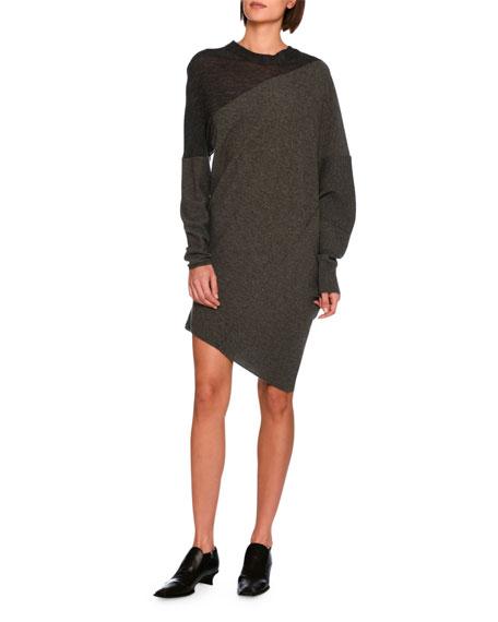 Stella McCartney Asymmetric Virgin Wool Sweater Dress, Charcoal